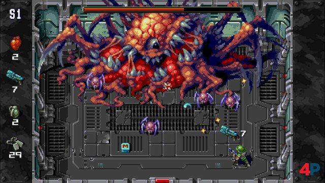 Der erste Boss ist gleich der schickste - das Ekel-Alien gibt aber rasch klein bei und schießt kaum Projektile.
