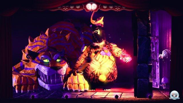 Die große Grinsekatze ist der erste Boss, rechts daneben steht der fiese Mondbärkönig, welcher den jungen Helden entführt hat.