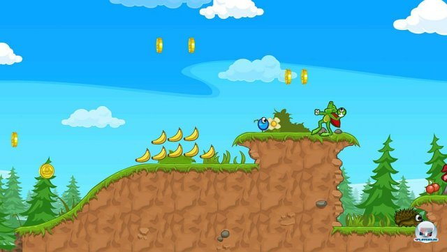 Blauer Himmel, grüne Wiesen, knuffige Kopffüßer: Superfrog verströmt von Beginn an gute Laune.