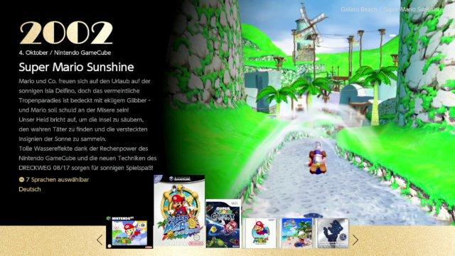 Ein Blick aufs minimalistische Menü und einen rutschigen Bauchklatscher in Super Mario Sunshine.