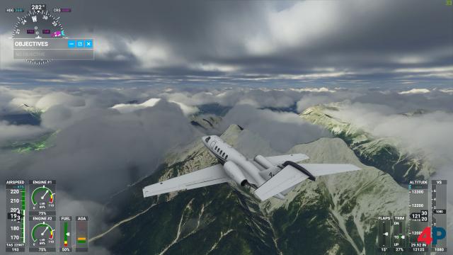 Die 3D-Wolken sehen beeindruckend aus. Fliegt man in die dichten Wolken, ist die Sichtweite auch gleich null.