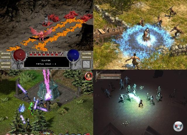 Eine andere Richtung hat das Hack-n-Slay eingeschlagen, als es sich mit dem Rollenspiel anfreundete: Spiele wie Diablo haben vorgemacht, dass ein RPG mehr sein kann als nur eine Ansammlung von virtuellen Würfeleien - stattdessen wird im Stakkato geklickt, gehackt, geslayt und gelootet. Danach wurde es mal gehaltvoller, mal blutiger, aber immer schwerthaltig: Spiele wie Baldur´s Gate - Dark Alliance, Sacred, Titan Quest, Dungeon Siege oder Champions of Norrath sorgten zum Teil auch dafür, dass man kooperativ den Feind bekämpft. 2074803