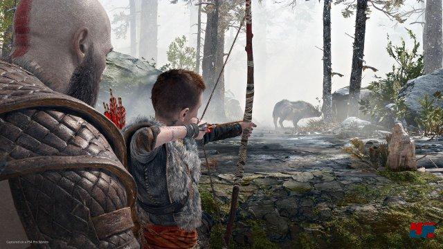 Noch übt Atreus, aber er kann Kratos recht schnell im Kampf als Bogenschütze unterstützen.