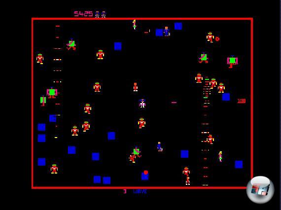 Robotron 2084<br><br>Der Urknall: An dem Williams-Automat von 1982 ballert ihr euch als glubschäugiger Android durch Horden unglaublich schlecht gelaunter und viel zu schnell auf euch zu stürmender Roboter, um die letzten noch lebenden Menschen zu retten. Wie in Asteroids seht ihr die Action von oben. Doch anders als beim Atari-Klassiker von 1979 habt ihr zwei Joysticks zur Verfügung, so dass ihr gleichzeitig in eine Richtungen laufen und in eine andere schießen könnt. Die krachenden und piepsenden Soundeffekte haben den Entwicklern offenbar so gut gefallen, dass sie im 3D-Shooter Blaster von Williams recyclet wurden. Anzocken könnt ihr Robotron über Xbox Live Arcade, auf Retro-Compilations und in einer <a href=