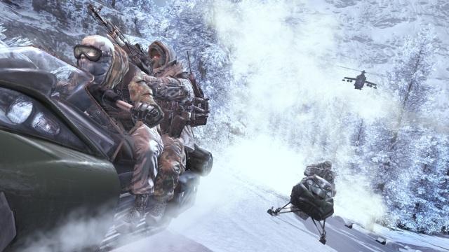 Call of Duty: Modern Warfare 2 <br><br> Die rasante Schneemobil-Fahrt markierte einen der Höhepunkte von Modern Warfare 2, doch auch schon die voran gehende Klettersequenz mit anschließendem Schleicheinsatz durch einen Schneesturm bringen das Winter-Feeling hervorragend rüber.   2180857