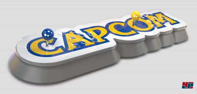 Das edel anmutende, wuchtige Gerät ahmt die Form des Capcom-Logos nach - ein interessantes Designkonzept.