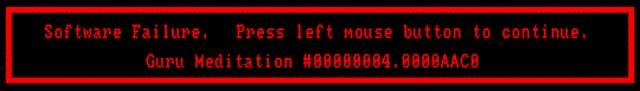 Der Guru <br><br>  Eines darf bei einer Bilderserie aber nicht fehlen: die Guru Meditation! Wo Windows selbst heute noch mit verhassten, unverständlichen Fehlermeldungen den PC zum Absturz bringt, brachte man der rot umrandeten Fehlermeldung des Amiga-Betriebssystems zumindest einen kleinen Sympathiebonus entgegen. Verstanden hat man die Guru Meditation zwar auch nicht, aber zumindest kam es nicht ganz so oft vor wie bei manchen Windows-Katastrophen...  2133083
