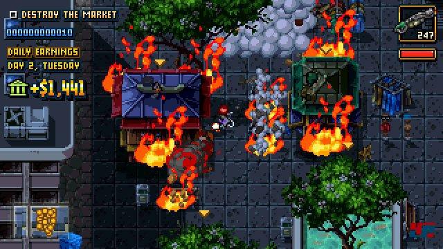 Die Action orientiert sich an den klassischen GTA-Spielen und transportiert sie visuell in die SNES- bzw. Mega-Drive-Ära.