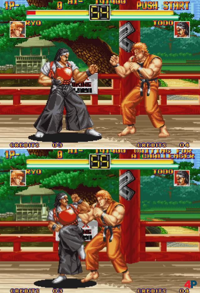 """Die """"Pixelskalierung"""" (oben) ist der """"Glattskalierung"""" (unten) eindeutig vorzuziehen - wie hier am Beispiel von Art of Fighting zu sehen ist."""