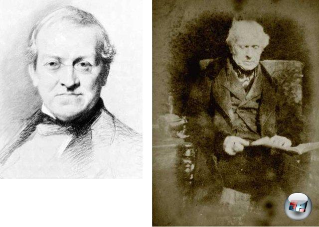 <br><br>Obwohl sich in der Antike bereits Menschen wie der Mathematiker Euklid Gedanken um das räumliche Sehen machten und sich sogar Leonardo da Vinci mit dem Phänomen beschäftigte, gilt der Physiker Sir Charles Wheatstone (links) als Entdecker der Stereoskopie. Er konstruierte etwa 1832 ein Gerät aus Holz und Spiegeln, mit dessen Hilfe sich zwei leicht versetzt gezeichnete Bilder eines Motivs im Gehirn wieder mit einer räumlichen Wahrnehmung zu einem Ganzen verschmolzen. Wheatstone bezeichnete seine Konstruktion als Stereoskop. Auf den Erkenntnissen von Wheatstone aufbauend, erschuf sich der Engländer Sir David Brewster (rechts) einen eigenen Apparat, der wesentlich handlicher und mit zwei Linsen ausgestattet war, durch die der Betrachter nur das Bild sieht, was für das jeweilige Auge bestimmt ist. Obwohl anfänglich kaum Interesse an Brewsters Gerät vorhanden war, löste die Erfindung auf der Weltausstellung in London 1851 eine Welle der Begeisterung aus - selbst Königin Viktoria war äußerst angetan und bekam ein eigenes Luxusmodell von Brewster persönlich überreicht. 2049198