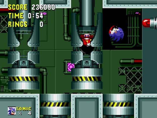 Endkampf: Sonic hüpft in Kugelform auf seinen Erzfeind Dr. Robotnik.