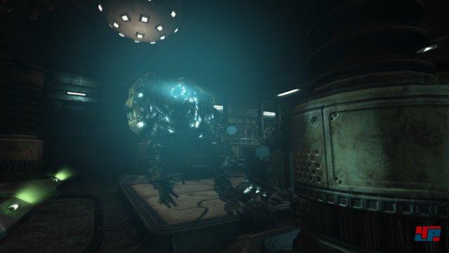 Diese Robotwächter jagen einen durch die labyrinthische Anlage.