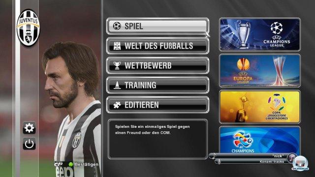 Das neue Hauptmenü mit Pirlo als Lieblingsspieler - bei den Traumwerten muss man den Techniker einfach lieben.