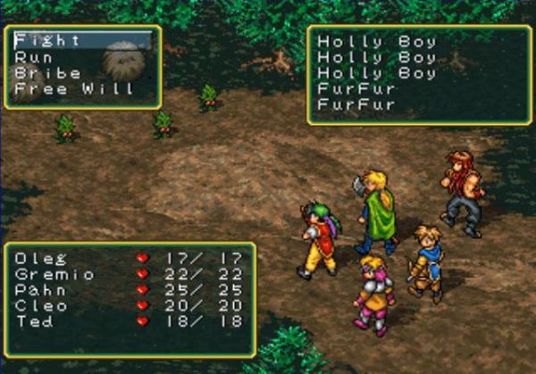 Suikoden (PlayStation 1995)<br><br>Ebenfalls 1995 begründete Konami mit Suikoden eine bis heute sehr populäre RPG-Saga aufs Sonys PlayStation, die mittlerweile fünf Teile umfasst. Eines der herausragendsten Merkmale der Serie waren die einem chinesischen Roman entsprungenen 108 Sterne des Schicksals, die dem Spieler Zugang zu 108 spielbaren Charakteren verschafften. Zudem hatte man die Möglichkeit eine Art Hauptquartier zu errichten, in dem sämtliche Charaktere ein Zuhause fanden und bestimmten Tätigkeiten nachgingen. Auch die Kämpfe waren etwas Besonderes: So gab es nicht nur traditionelle rundenbasierte Zufallsbegegnungen, bei denen bestimmte Charakterkonstellationen individuelle Kombos erlaubten, sondern auch taktische Einzelduelle nach dem Schere-Stein-Papier-Prinzip sowie strategische Massenschlachten. 1720276