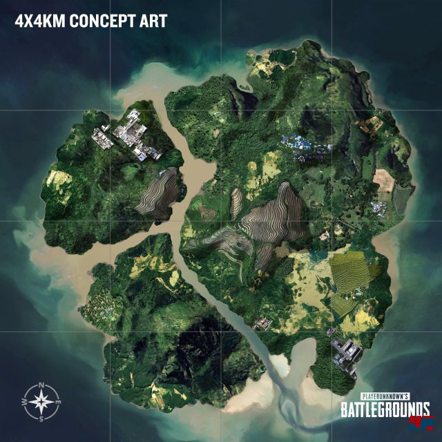 Entwurf der neuen 4x4 Kilometer großen Karte