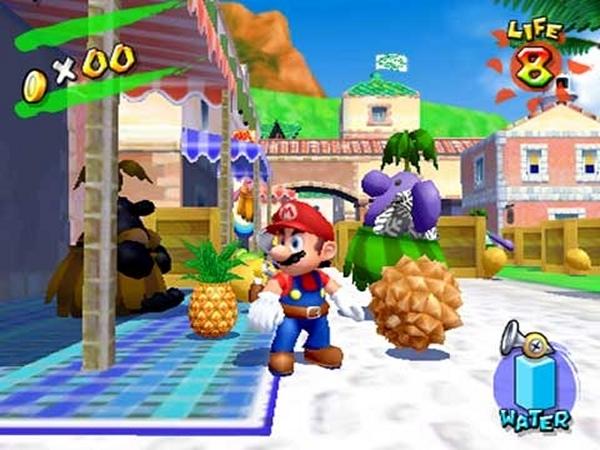 Super Mario Sunshine (2002)<br><br>Sechs lange Jahre nach Super Mario 64 gab es endlich wieder ein echtes Jump-n-Run mit dem Hüpfkönig, für den noch jungen GameCube - und Super Mario Sunshine schafft es bis heute, die Fangemeine zu spalten! Auf der einen Seite sorgen das einladend-freundlich Szenario, die liebevollen Figuren und das klassisch-gute Spielprinzip für gute Laune - auf der anderen Seite kam der Wasser-Rucksack FLUDD bei vielen Spielern nicht gut an, die Kamerasteuerung weckte Erinnerungen an den Vorgänger, einige Kritiker bemängelten den Mangel an Feinschliff. Was natürlich nichts am Erfolg des Spiels änderte: Super Mario Sunshine ist mit mehr als fünf Millionen verkauften Discs der zweit-erfolgreichste GameCube-Titel - nur Super Smash Bros. Melee war und ist noch erfolgreicher. 1724686