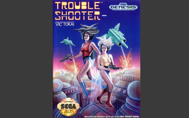 Trouble Shooter (1991)<br><br>Zwei Manga-Gören zieren das Original-Cover von Vic Tokais Shooter - ergibt ja auch Sinn, schließlich fliegen zwei Manga-Gören im Stile von Forgotten Worlds ballernd durch die Levels. Da seinerzeit das japanische Comicformat wohl nicht so populär wie heute war, gab es für die nicht-japanische Fassung etwas Neues. Etwas... etwas... Schlimmes... 1724125