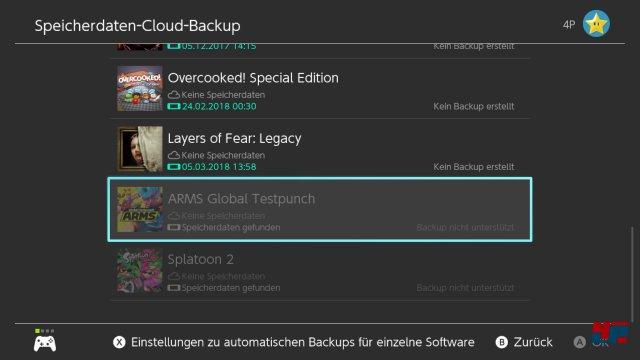 Nicht alle Spiele unterstützen die Cloud-Save-Funktion.