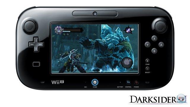 Zusätzlich zur Berührungsfunktion kann man Darksiders 2 auch ohne TV komplett auf dem WiiU-Gamepad spielen. Die Schrift fällt hier mitunter allerdings sehr klein aus.