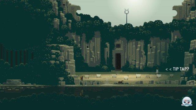 Mit der linken Taste tippt man in die Pixelwelt, um den Helden zu bewegen.