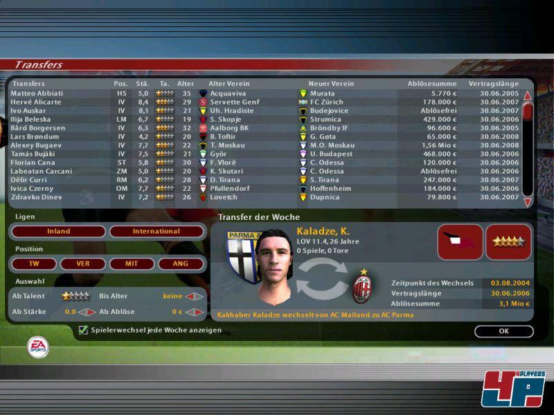 Screenshots Zu Fussball Manager 2005 Alles Zum Sport Spiel