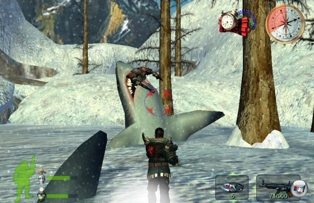 <b>Hai-End-Kanone (Armed and Dangerous): </b><br><br>Seit Steven Spielberg die Kinobesucher in den 80ern mit dem Weißen Hai schockte, ist die Planscher-Welt nicht mehr dieselbe. Allerdings hat keiner behauptet, dass das Landleben sicherer sei: Denn auf solidem Untergrund besteht nicht nur die Gefahr, in die Gefangenschaft eines Kamerateams von RTL 2 zu geraten, sondern auch von einem Bodenbuddlerhai attackiert zu werden! Okay, die Wahrscheinlichkeit ist dafür in der Großstadt relativ gering, aber wenn man sich in der Welt des bekloppten Actiongames Armed & Dangerous tummelt, ist diese Angst mehr als angebracht! Uh, und die »Kuddelmuddelbombe« nicht zu vergessen, mit der man eben mal die ganze Welt auf den Kopf stellte und alle Feinde ausschüttelte. Oder das mobile schwarze Loch! Ja, Armed and Dangerous war sehr... speziell. 1914968