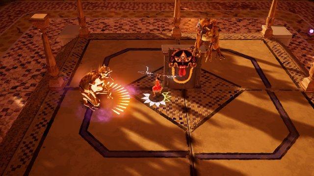 An solchen Stel(l)en kann Raji magische Energie auftanken - gleich bekommt der Gegner eine dicke Attacke ab.