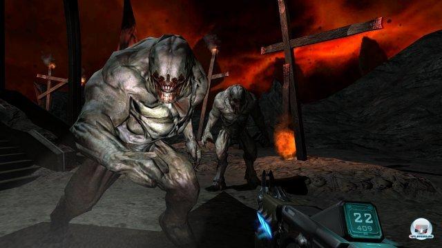 Obwohl Doom 3 schon einige Jahre auf dem Buckel hat, sieht die BFG-Edition nicht schlecht aus - den exzellenten Lichteffekten sei Dank. Das Ganze ist auf Wunsch auch in 3D spielbar.