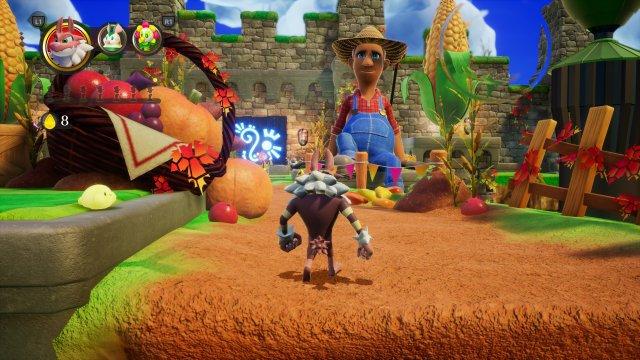 Diesem Bauer helfen wir in der Demo-Welt - die Figuren wirken wie aus einem Märchen-CGI-Film.