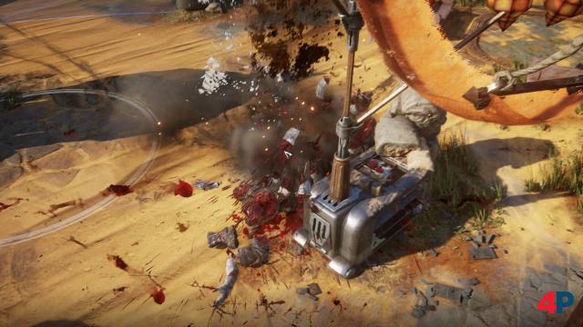 Schwere Waffen mancher Gegner können aufgehoben und gegen die Locust eingesetzt werden. Zu sehen sind die explosiven Auswirkungen.