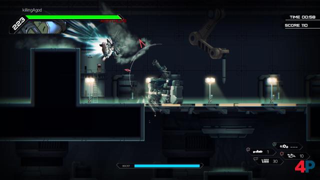Flugfähiger Robo vs. Stahlkoloss im Mehrspieler-Modus - der Linke ist der Flinke.