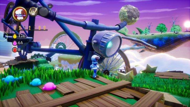 In jeder Welt soll man die Probleme eines menschlichen Außenseiters lösen. Manches Objekt in der Spielwelt (hier: Fahrrad) passt dann zur jeweiligen Geschichte.