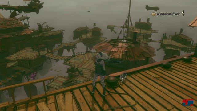 Kats zweites Abenteuer startet bei einer Gemeinschaft kleiner Holzschiffe.