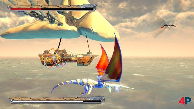 Seitenblick: Per Schultertaste kann man die Perspektive in 90-Grad-Schritten durchschalten und so Feinde ins Visier nehmen, die neben dem Drachenreiter fliegen.