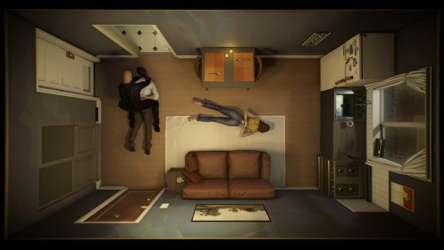 Stattdessen sieht die Realität schon nach wenigen Spielminuten düster aus: Ein Polizist dringt in die Wohnung ein, wirft beide Hauptfiguren zu Boden und fesselt rüde sie mit Kabelbindern.