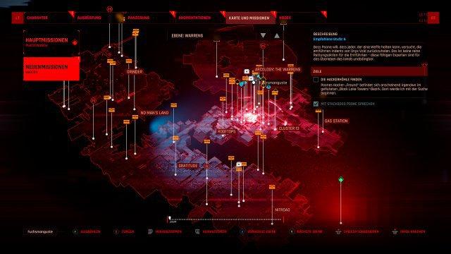 Neon Giant kann Grafik, aber Neon Giant kann keine Karte. Der Cyberpunk-Moloch wirkt in der Übersicht extrem unübersichtlich.