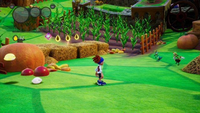 Leo ist eine der beiden spielbaren Figuren - hier im Bild erkennt man gut die Krümmung der Spielwelt.