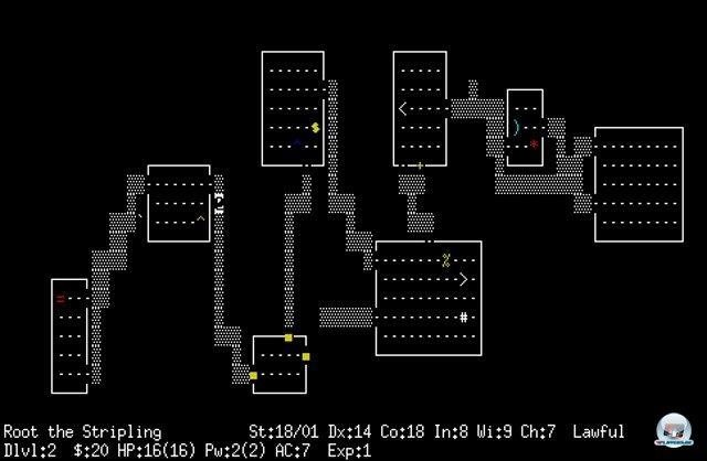 <b>NetHack</b><br><br> Dank der minimalistischen Grafik lassen sich die Spiele außerdem bequem von Fans entwickeln. NetHack aus dem Jahr 1987 erschien z.B. unter einer Open-Source-Lizenz, welche freies Teilen und Modifizieren erlaubt. Die meisten Exemplare lassen sich nur alleine spielen, es gibt aber auch Mehrspieler-Ableger wie TomeNET oder Crossfire. 92413752