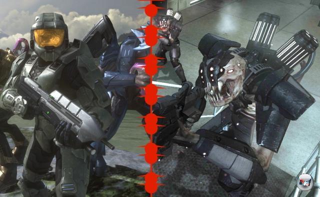 <b>Halo 3 vs. Resistance:</b><br><br>Seit dem ersten Teil war die Marke Halo untrennbar mit Microsoft und der Xbox verbunden - jeder hätte gern so eine Gelddruckmaschine. Auch Sony, und ganz besonders auf der brandneuen PlayStation 3. Killzone hätte eigentlich Sonys Halo werden sollen, aber der zweite Teil verpasste den Start der PS3 ganz knapp um ein paar Tage. Also musste ein anderen Spiel den frei gewordenen Platz des Halo-Killers einnehmen, und das war Resistance: Fall of Man. Ziel knapp verfehlt, sowohl spielerisch als auch technisch musste sich Insomniac Games' Erstling dem ein paar Monate danach erscheinenden, übermächtigen Halo 3 unterwerfen. Macht aber nichts, denn mit dem anderthalb Jahre darauf erscheinenden zweiten Teil wurde die Schwarte wieder ausgesetzt. Jetzt ist Bungie wieder am Zug. 1906528