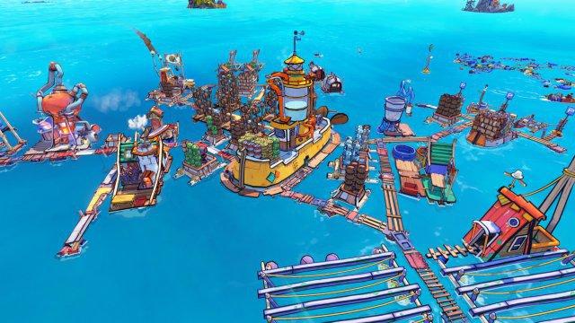 Auf hoher See baut man in Flotsam eine schwimmende Stadt.