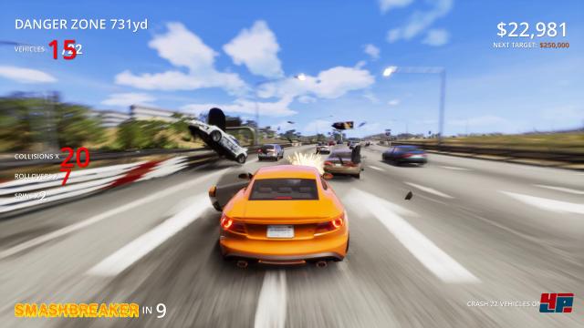 Auf dem Weg zur Danger Zone bzw. zur Crash-Kreuzung darf man kleine Aufgaben erfüllen. Hier müssen Fahrzeuge berührt werden.