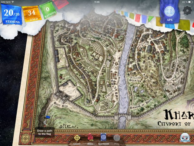 Die wunderschöne Karte der Hafenstadt Kharé - man kann hinein und rauszoomen.