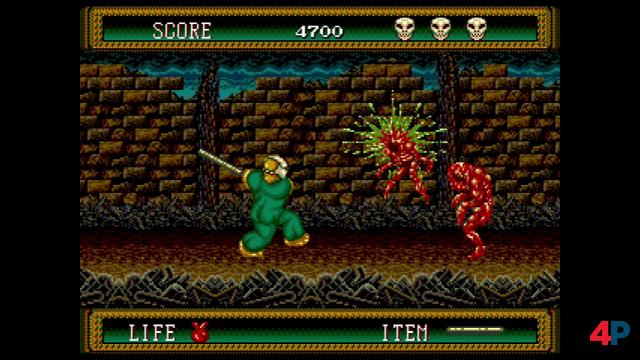 Monster mit dem Kantholz effektvoll an die Wand matschen - ja, das sieht nach Splatterhouse 2 aus.