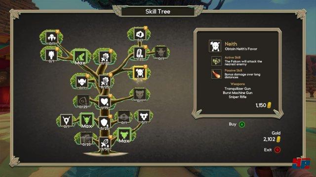 Der Fähigkeitenbaum ist ordentlich bestückt und jede Verbesserung ist beim nächsten Versuch spürbar, die Pyramiden zu erobern.