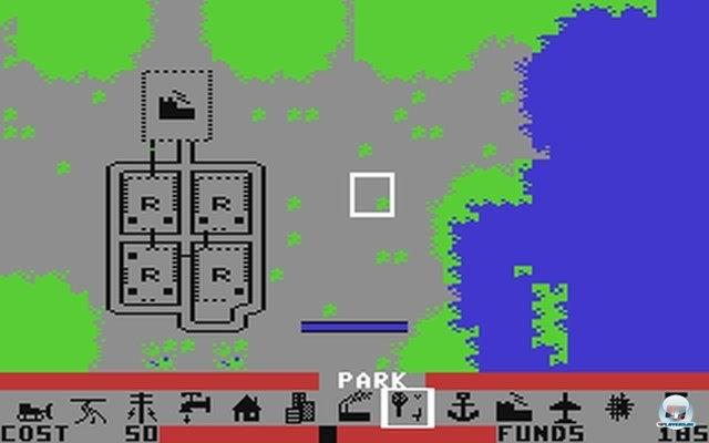 Trotz der im Vergleich zum Amiga grafisch abgespeckten Darstellung machte der Städtebau auch am C-64 süchtig.