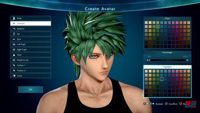 Der Avatar kann in einem soliden Editor gestaltet und später vollkommen frei mit aktiven sowie passiven Fähigkeiten oder neuen Klamotten ausgestattet werden.