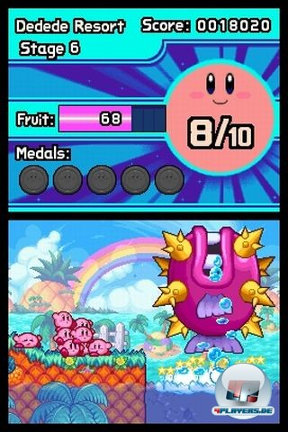 Zehn Kirbys sind besser als einer? Das nicht, aber dadurch entfalten sind nette Puzzles. Außerdem wird das Spiel durch die tollpatschige bande nur umso niedlicher.