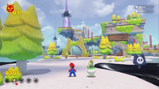 Vielsagendes Bild: 1. Bowser Jr. ist stets an Marios Seite unterwegs. 2. Die Türme, wie der im Hintergrund, nehmen eine zentrale Rolle ein - um sie herum sind viele Hüpfparcours gebaut. 3. Sogar die Bäumchen haben Ohren im Zusatzinhalt Bowser