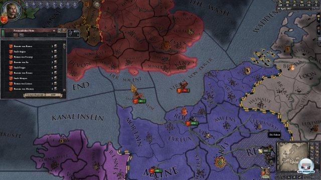 Thronstreit um Engeland. Wilhelm will die Insel, während Harold sie nicht hergeben will.