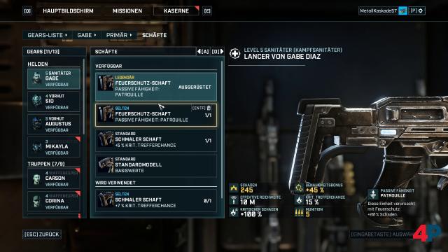 Vier Bauteile der Waffen können modifiziert werden. Hier wird ein legendärer Schaft eingesetzt.